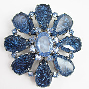 Schreiner Blue Art Glass Brooch/Pendant