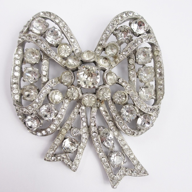 Large Rhinestone Bow Pin