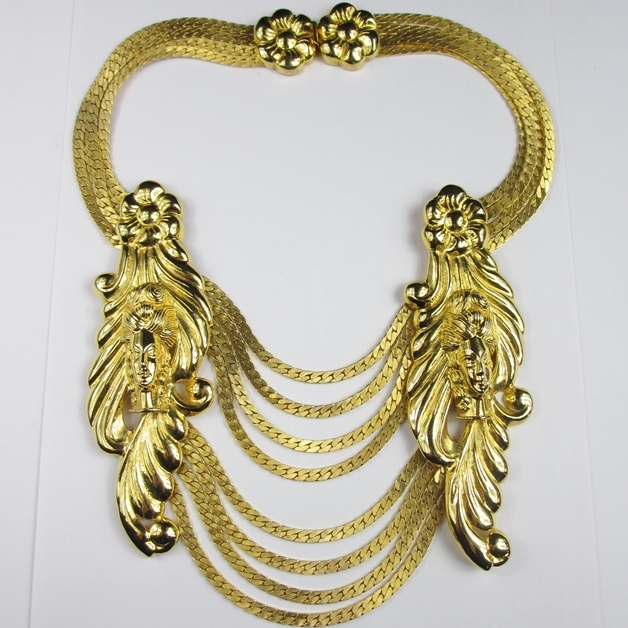 Massive Judith Leiber Gold Tone Necklace