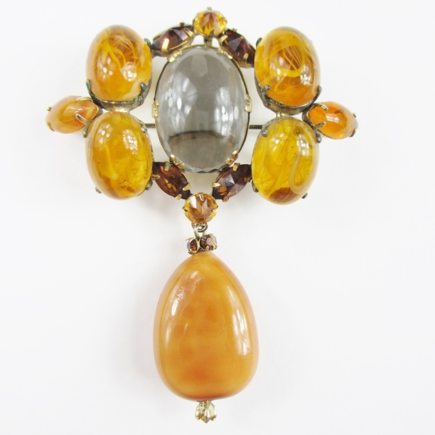 Schreiner Amber & Clear Cabochon Dangle Brooch