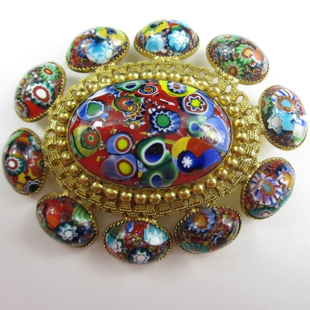 Fabulous Oval Millefiore Cabochon Brooch