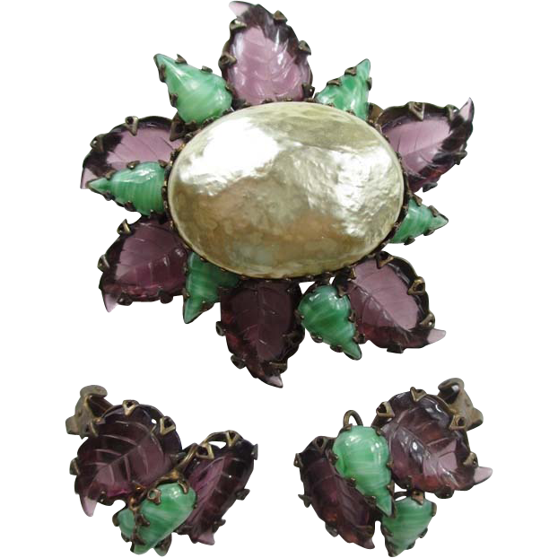 Unique Schreiner Brooch & Earring Set