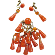 Fab Castlecliff Dangling Brooch & Earrings Set