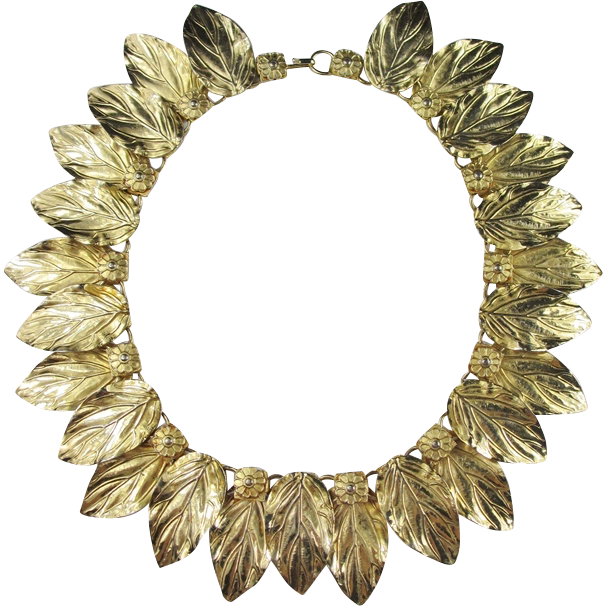 Exceptional Gold Toned Leaf Necklace