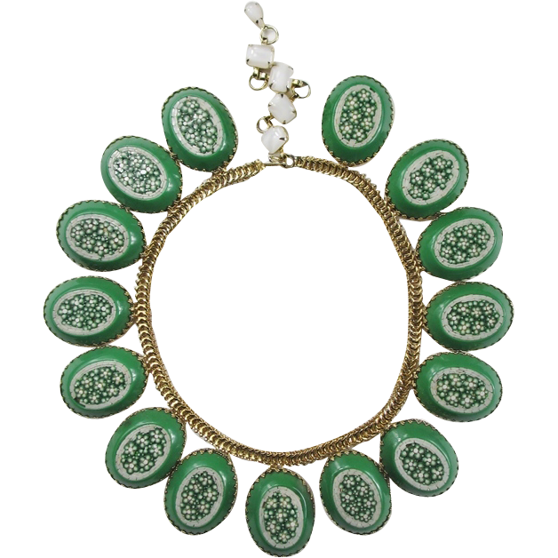 Magnificent Schreiner Green Mosaic Necklace