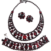 Lovely Red Rhinestone & Cabochon Parure