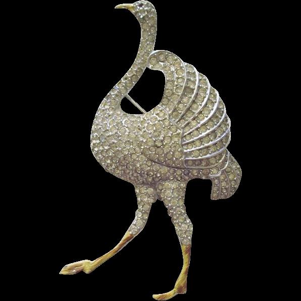 Coro Ostrich Brooch