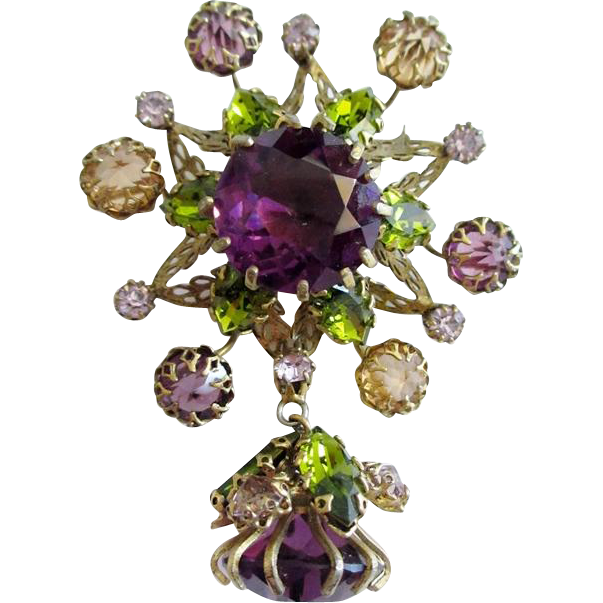 Fabulous Schreiner Dangle Brooch
