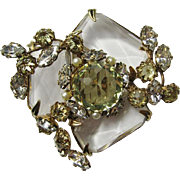 Lovely Schreiner Clear Crystal Brooch