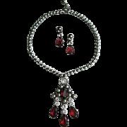 Schreiner Glass Pearl & Rhinestone Necklace Earrings Set