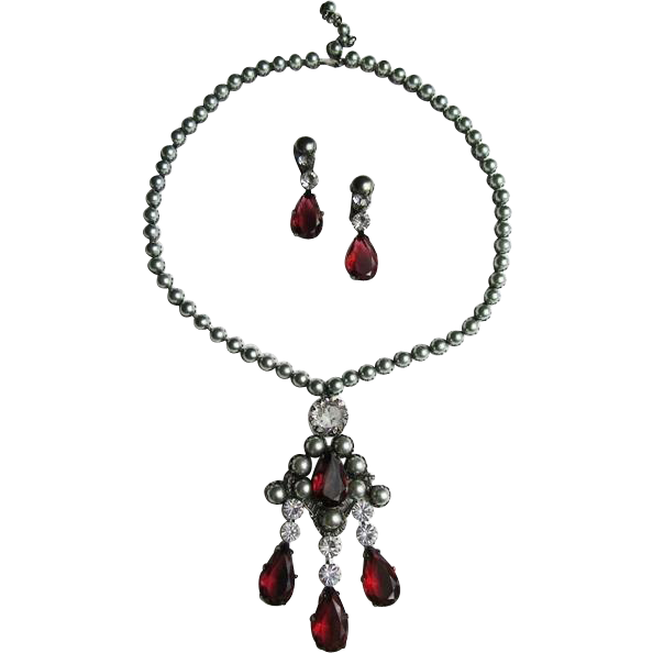 Schreiner Glass Pearl & Rhinestone Necklace Earrings Set