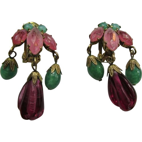 Schreiner Dangling Clip Earrings