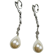 Kenneth Jay Lane (K.J.L.) Glass Pearl Earrings