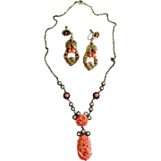 Beautiful Faux Coral Necklace Earrings Set