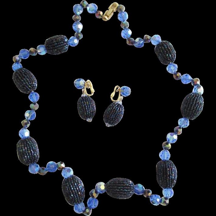 Blue Beaded Trifari Necklace & Earrings Set
