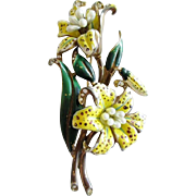 Large Enameled Floral Brooch with Faux Pearls