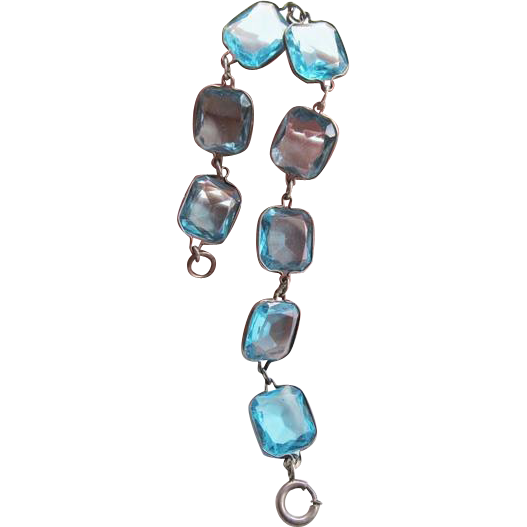 Blue Crystal Open Back Bracelet