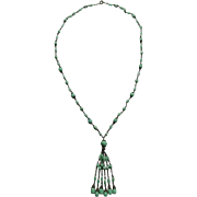 Wonderful Peking Glass Tassel Necklace