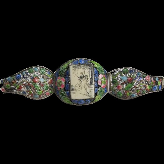 Amazing Antique Chinese Scrimshaw Cloisonne Bracelet