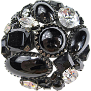 Schreiner Black and Clear Stone Brooch