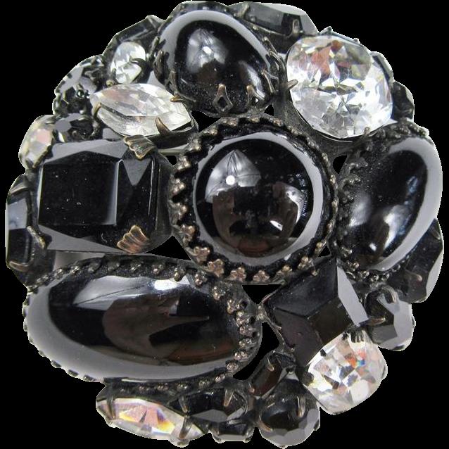 Schreiner Black and Clear Stone Brooch