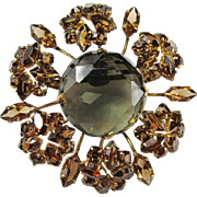 Austrian Smoky Quartz Glass Dimensional Brooch