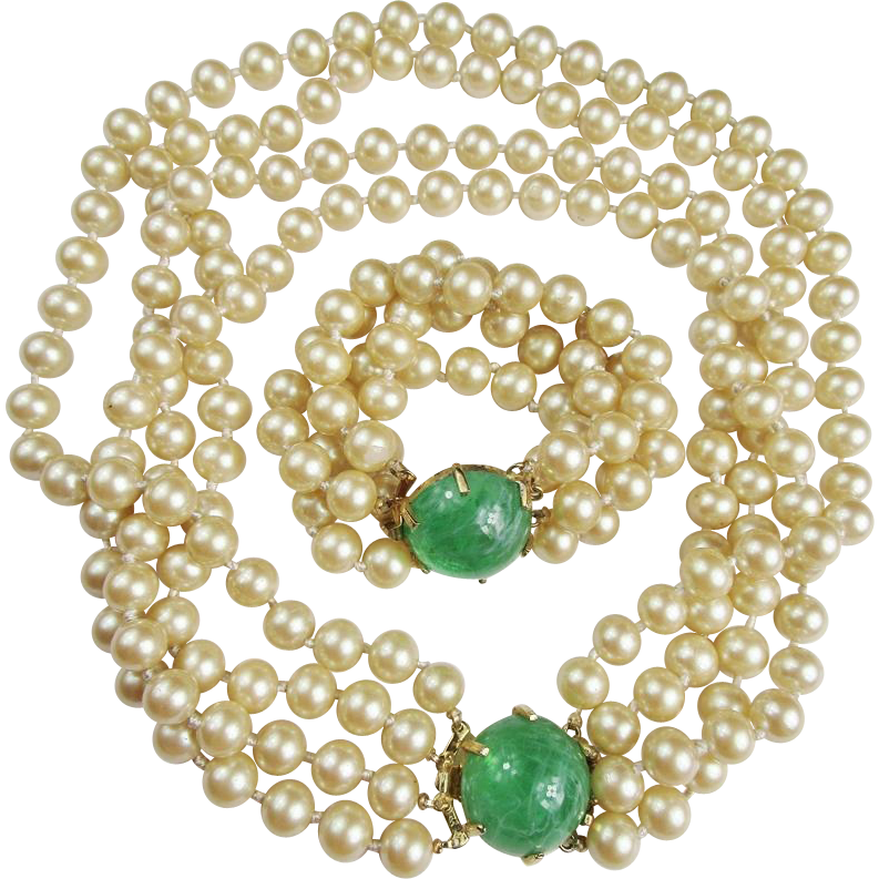 Glass Pearl Necklace & Bracelet with Flawed Green Cabochon