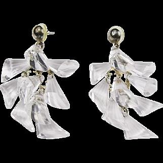 Fabulous Clear Lucite Dangle Earrings