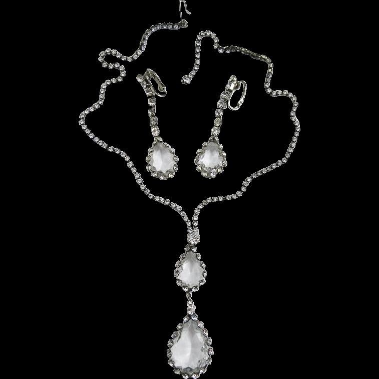 Crystal Caged Pendant & Earrings Set