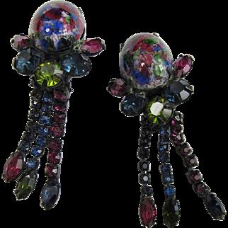 Unique Art Glass Japanned Dangle Earrings