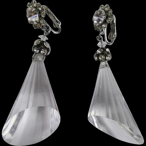 Wonderful Dangling Clear Lucite Earrings