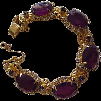 Juliana Purple Crystal & Flower Bracelet