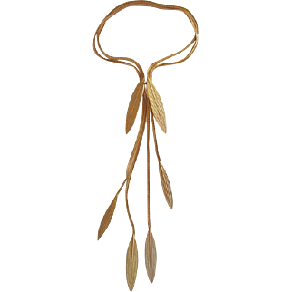 Unusual Gold Tone Leaf Necklace