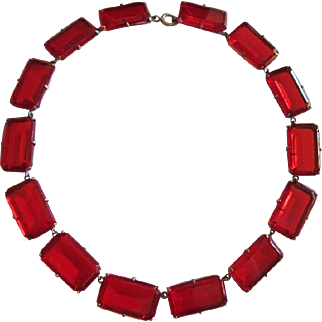 Bold Red Crystal Necklace