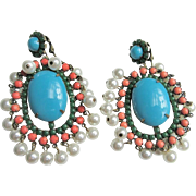 Huge K.J.L. 60's Dangling Earrings