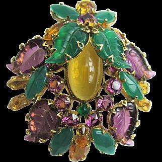 Gorgeous Schreiner Glass Leaf Brooch/Pendant