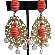 Coral & White Dangle K.J.L. Earrings
