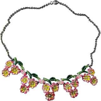 Charming Coro Enameled Floral Necklace