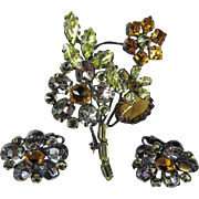 Schreiner Trembler Brooch with matching Earrings