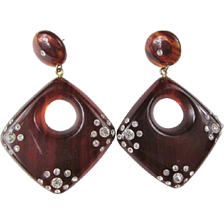 Wonderful Faux Tortoise Shell Rhinestone Encrusted Earrings