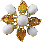 Schreiner White Cabochon Brooch/Pendant with Glass Leaves