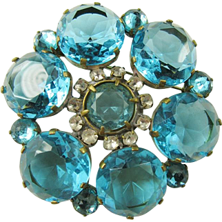 Gorgeous Turquoise Blue Open Back Brooch