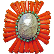 Gorgeous Faux Coral, Jade & Pearl Schreiner Brooch
