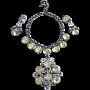Magnificent Schreiner Necklace Pendant/Brooch Earring Set