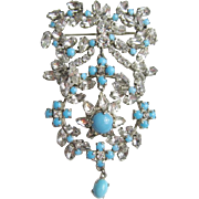 Rhinestone and Turquoise Glass Dangle Brooch