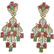 Trifari Pink & Green Cabochon Earrings
