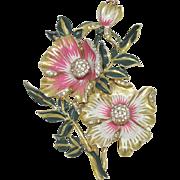 Deja Large Enameled Flower Brooch