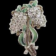 Large Enameled Rhinestone Floral Brooch
