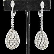 Dangling Pear Shaped Rhinestone Earrings