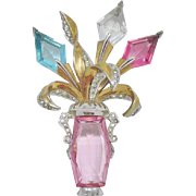 Beautiful Glass Vase Flower Brooch
